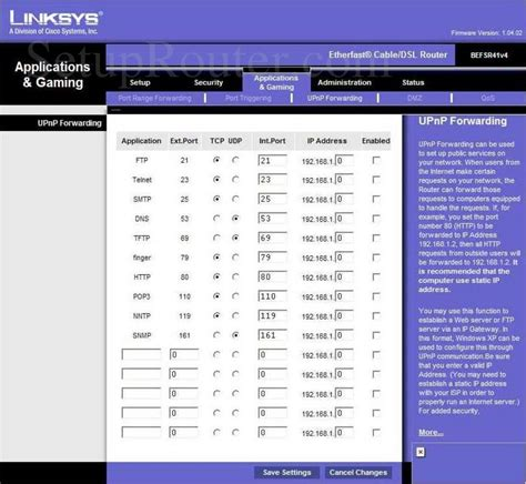 forwarding router linksys befsr41v4 screenshot upnp forwarding