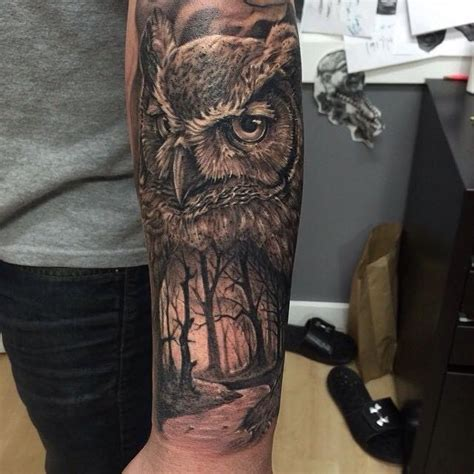 owl tattoo sleeve half sleeve owl my obsession