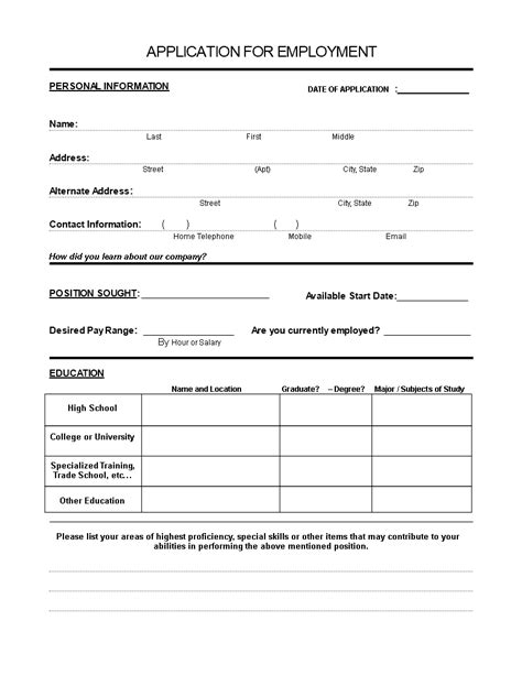 free application form for employee templates at