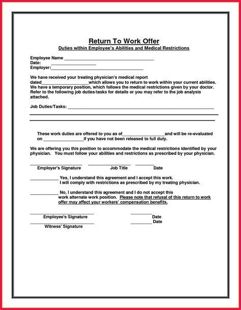 Return To Work Doctor S Note Sop Exles Return To Work Doctors Note Template