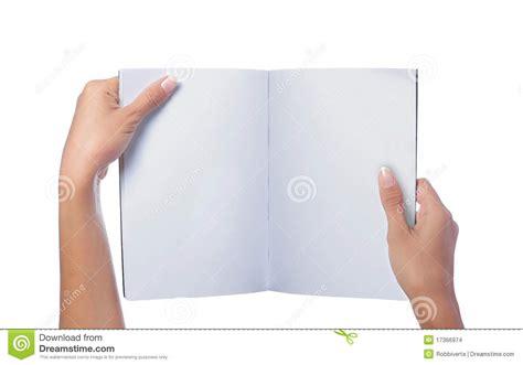 designing a magazine layout hands on workshop hand holding white blank magazine stock photo image of