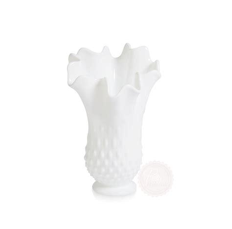 milk glass beaded ruffle vases large pretty pedestals