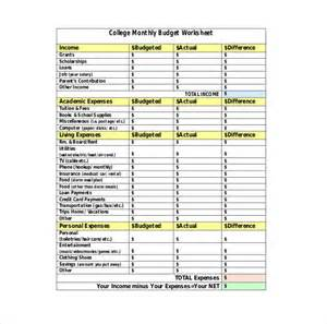 College Budget Template by 10 College Budget Templates Free Sle Exle