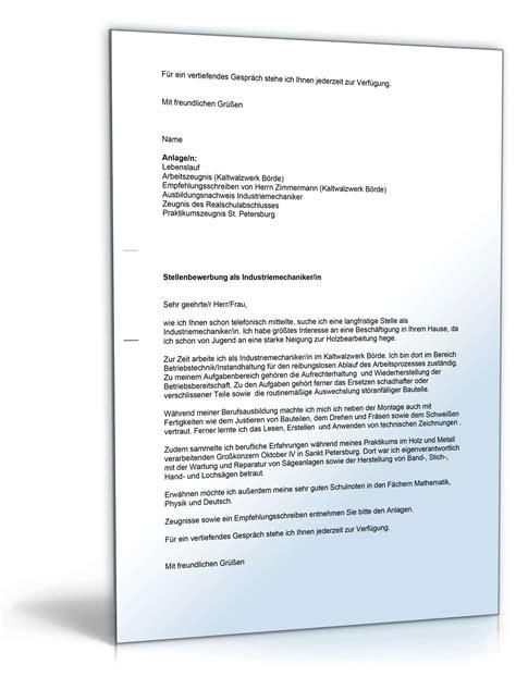 Bewerbungsschreiben Ausbildung Zum Industriemechaniker anschreiben bewerbung ausbildung industriemechaniker 28