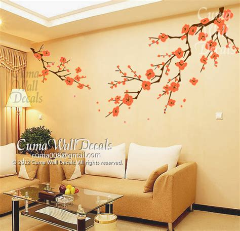 wall stickers and murals cherry blossom wall decals orange flower vinyl mural by cuma