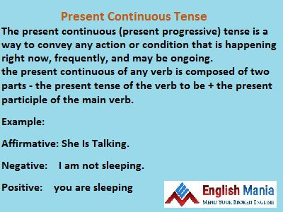 write the pattern of present continuous tense basic english present continuous tense it s application