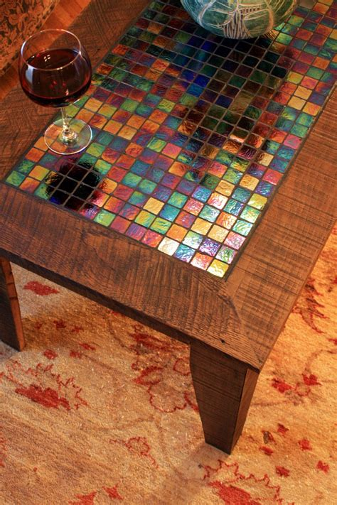 Large Coffee Table W Iridescent Glass Tile Inlay Mosaic Mosaic Coffee Table Designs