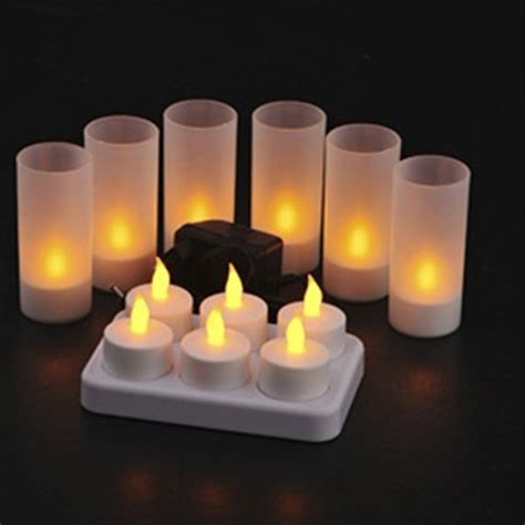 6 pcs set led rechargeable flameless tea light candle