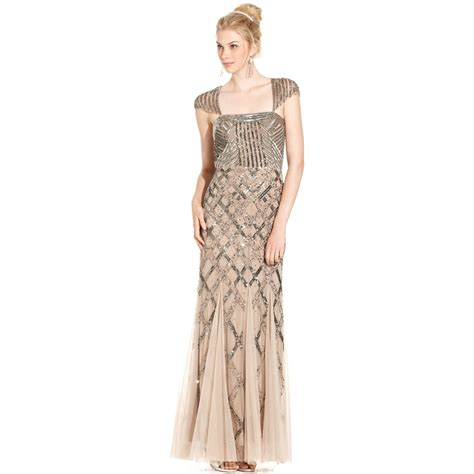 dress cap sleeve beaded sequin gown papell capsleeve sequined beaded gown in