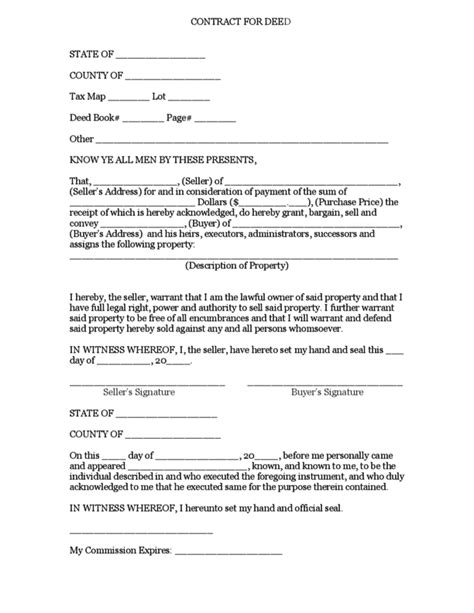 contract for deed template contract for deed printable contracts