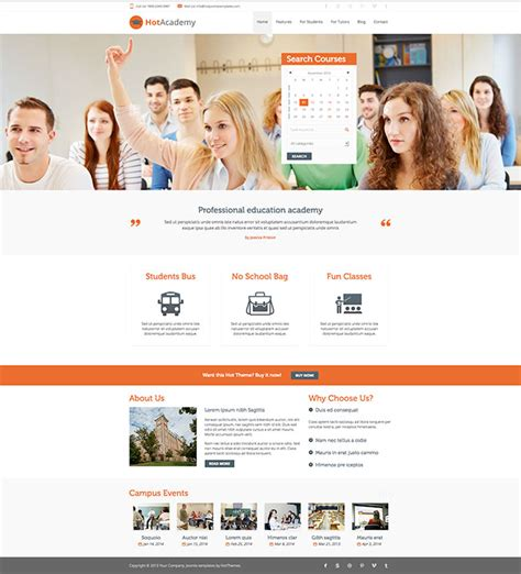 themes joomla education hot academy education template image 2
