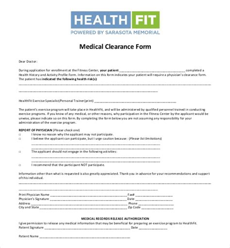 27 Sle Medical Clearance Forms Sle Forms Fit For Duty Safety Program Template