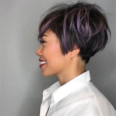 hairstyles and highlights for women 35 pixie haircut with purple highlights haircuts models ideas