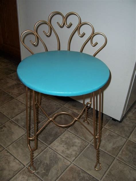 small metal vanity chair vintage retro aqua turquoise vanity chair stool w