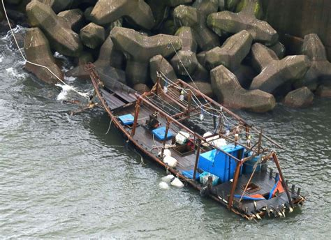 north korean fishing boat japan ghost ships believed to be from north korea appear off