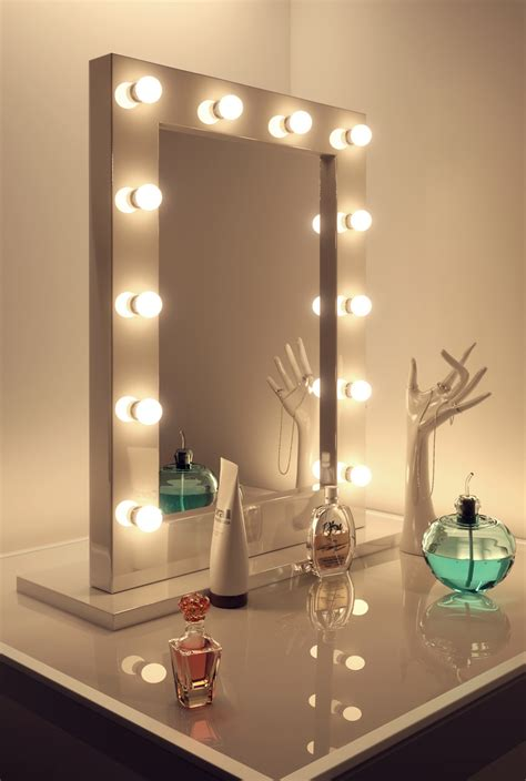 table mirror with lights high gloss white makeup theatre dressing room