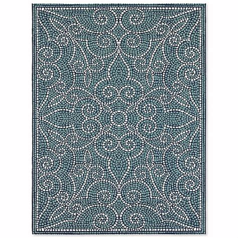 mosaic rug tile mosaic tile indoor outdoor area rug in blue bed bath beyond