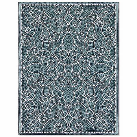 mosaic tile rug mosaic tile indoor outdoor area rug in blue bed bath beyond