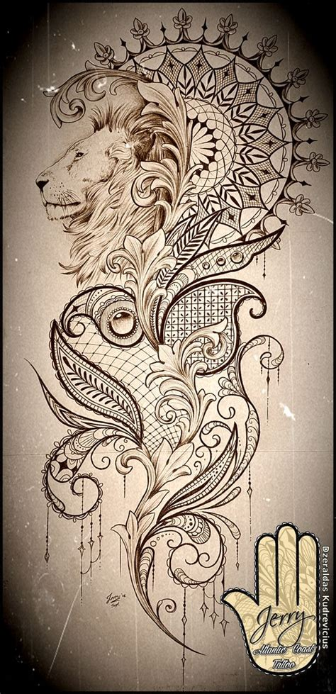 tattoo mandala lion beautiful lion mandala and lace tattoo idea design mendi
