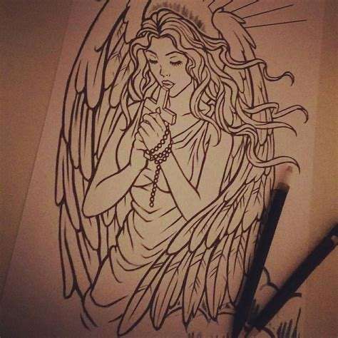 angel and cross tattoo custom design currently half way through