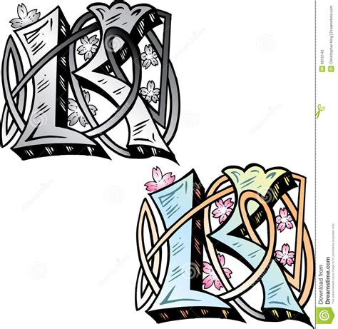 letra k do estilo do tatuagem fotos de stock imagem 6810143