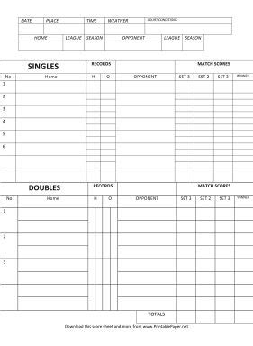 Badminton Score Card Template by The World S Catalog Of Ideas