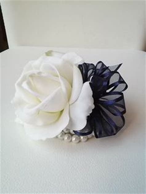 Dress Navy Blue Bunga Navy navy blue silver silk prom wrist corsage by