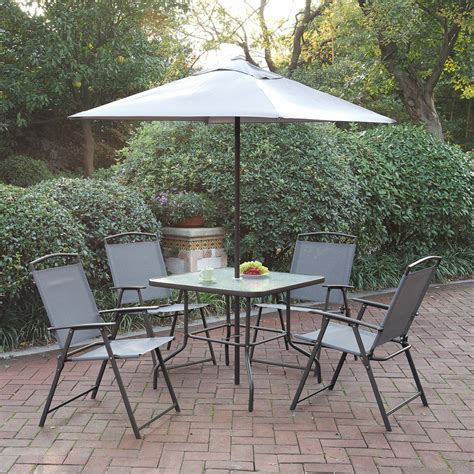 Patio Furniture Set With Umbrella Outdoor Patio Furniture Dining Set Umbrella Foldable Chairs Glass Table Ebay