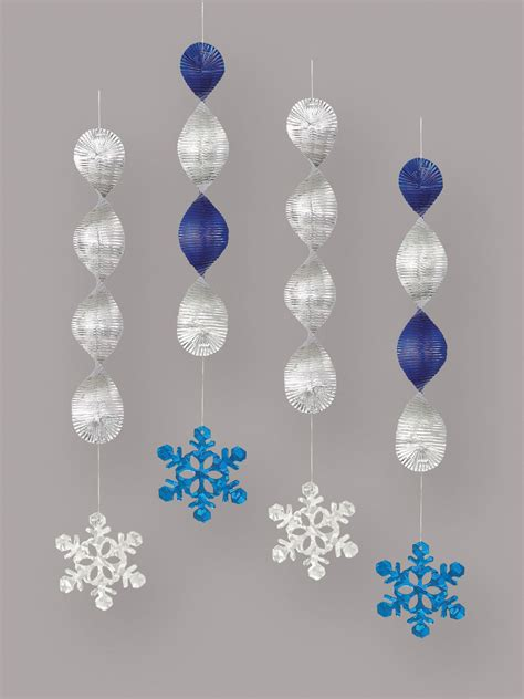 Snowflake Hanging Decoration 4 x hanging snowflake decorations foil swirls