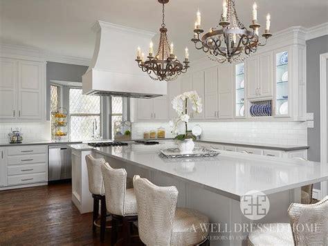 t shaped kitchen island white cabinets light grey quartz countertops design ideas