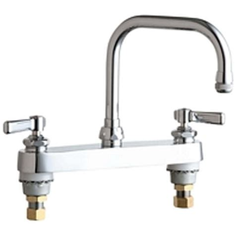 chicago faucets 2 handle standard kitchen faucet in chrome with 6 1 4 in rigid swing