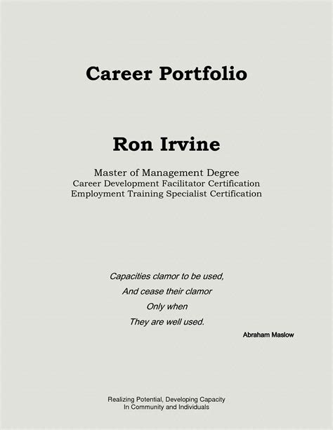 Best Photos Of Professional Portfolio Sles Professional Portfolio Outline Sle Business Portfolio Format Template
