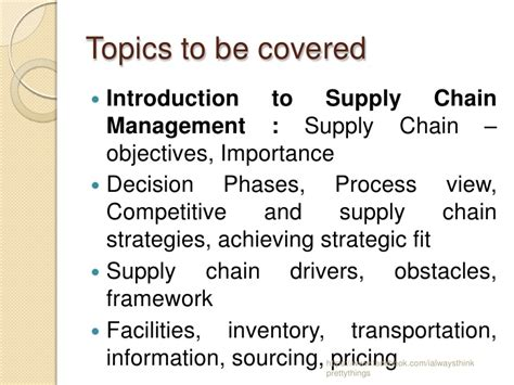 Supply Chain Management Notes For Mba Students by Supply Chain Management Basics