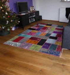 Karpet Quilt silkeborg rug low pile blue traditional green and handmade