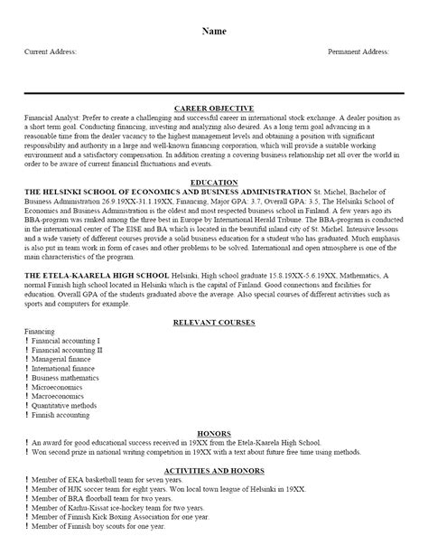 Free Sample Resume Template, Cover Letter and Resume