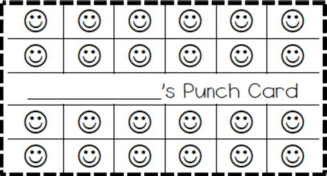 free printable behavior punch card template punch card template cyberuse