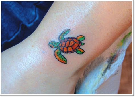 Green And Brown Ink Sea Turtle Tattoo On Leg Green Sea Turtle Tattoos