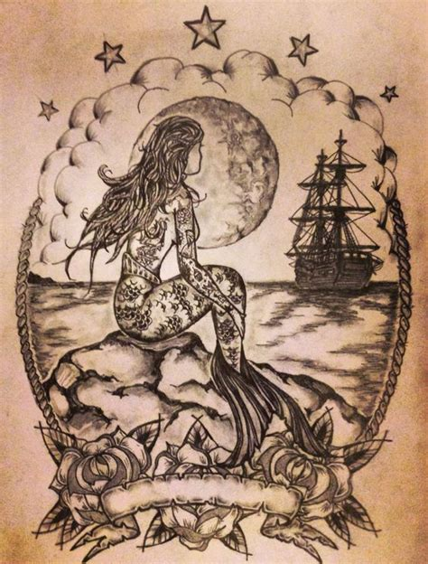 mermaid ship tattoo sketch by ranz mermaid tattoo
