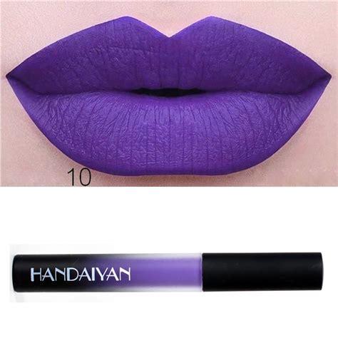 Color Matte Lip Gummy handaiyan 12 colors matte liquid lipstick lip pen purple