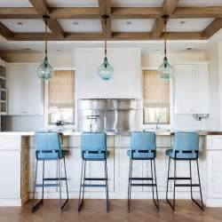 blue bar stools kitchen furniture coffered ceiling design decor photos pictures ideas
