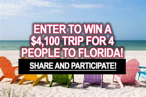 Sweepstakes Enter To Win - sweepstakes enter to win a 4 100 trip for 4 people to florida