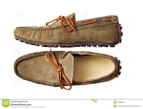 brown leather shoes with belt and clipping path stock