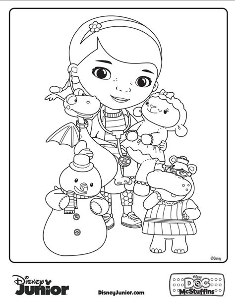 doc mcstuffins coloring pages disney junior have your little one give some color to doc mcsutffins and