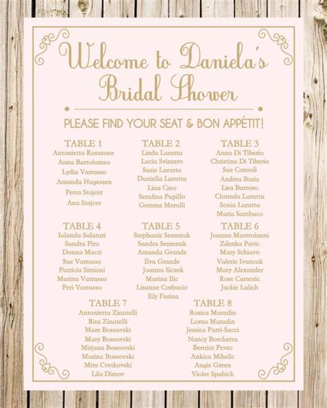 bridal shower seating chart template bridal shower seating chart guest list sign wedding