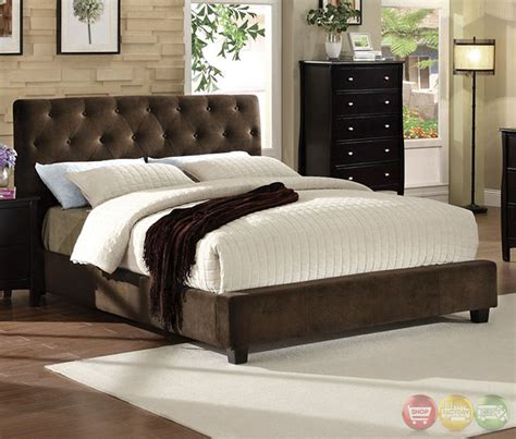 velvet bedroom furniture cordell brown platform bedroom set with padded velvet cm7211
