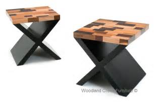 Contemporary wood end table modern rustic chic cross