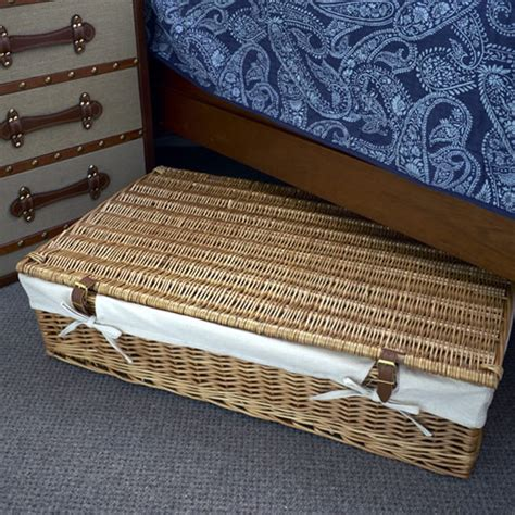 under bed baskets store underbed storage basket lined willow