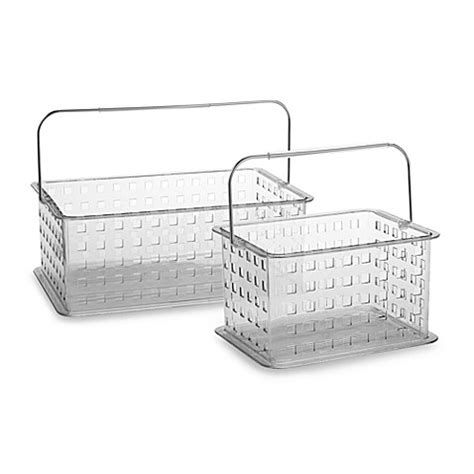 bed bath and beyond baskets interdesign 174 zia clear storage basket shower tote bed