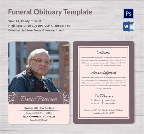 5 funeral obituary templates free word pdf psd