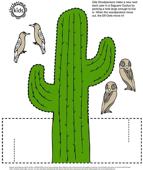 mexican saguaro cactus paper cutout craft for kids